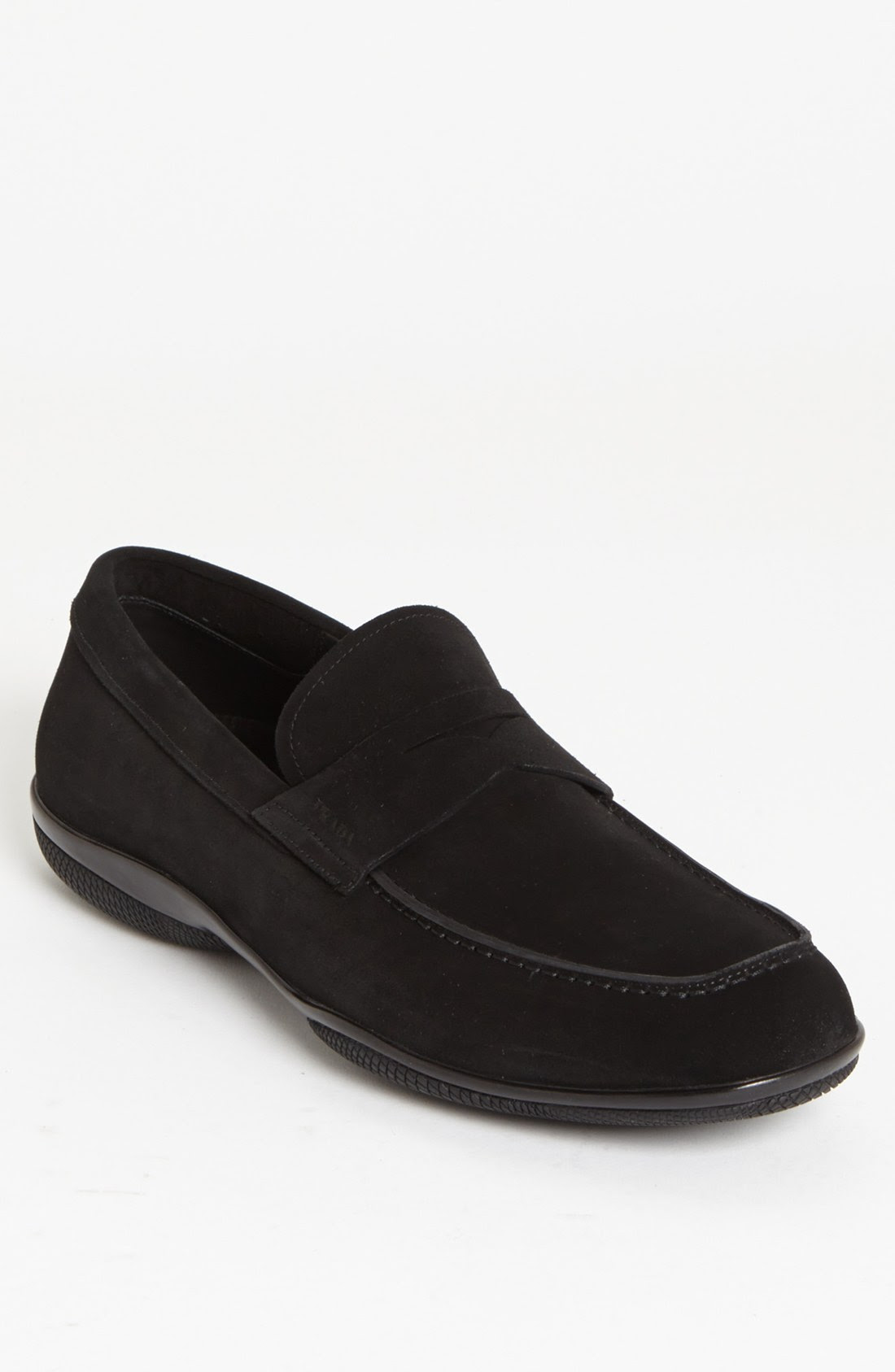 Prada Toblac Suede Penny Loafer in Black for Men | Lyst