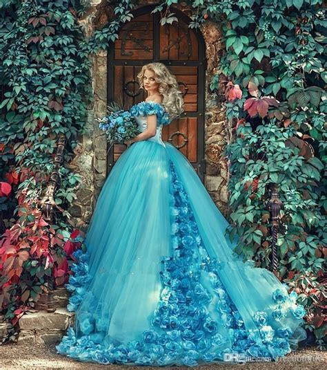 Beautiful Blue Wedding Dresses 3D Floral Flowers Off