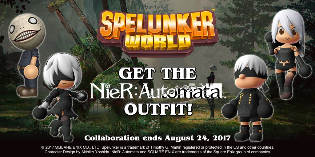 NieR: Automata invades Spelunker World in a cutesy crossover screenshot