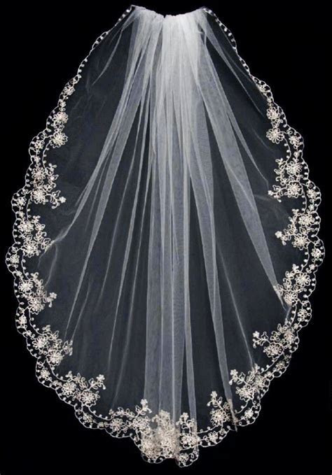 Pewter Embroidered Bridal Veil with Scalloped Edge