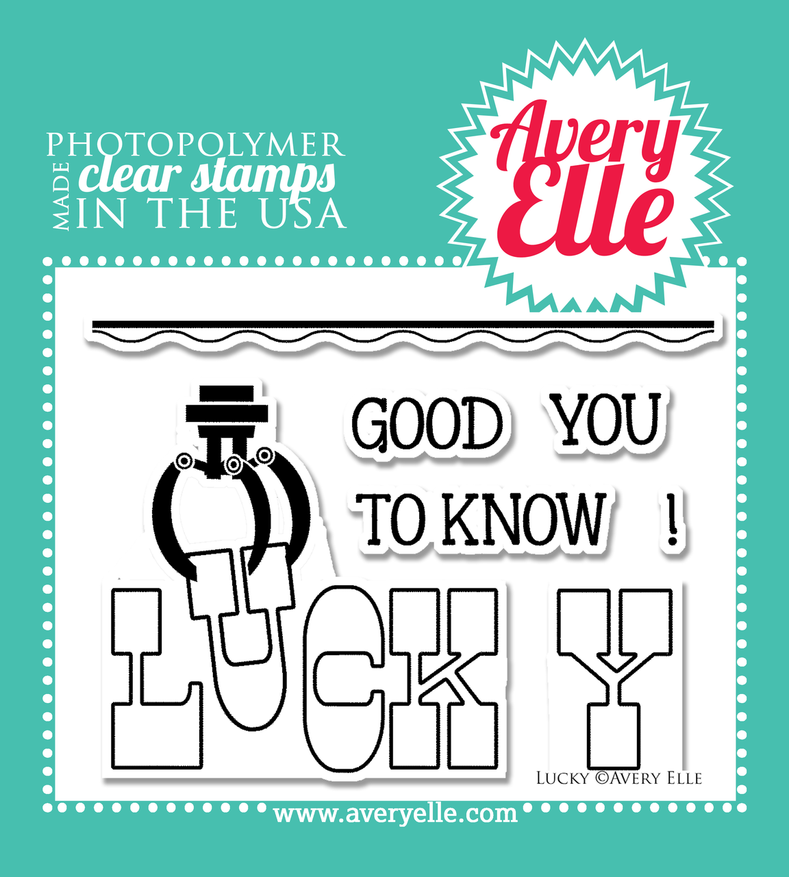 """Avery Elle Lucky 4"""" x 3"""" clear stamp set"""