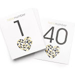 Hortense B. Hewitt 54852 Geo Heart Table Number Cards - 1-40 - Pack of 40