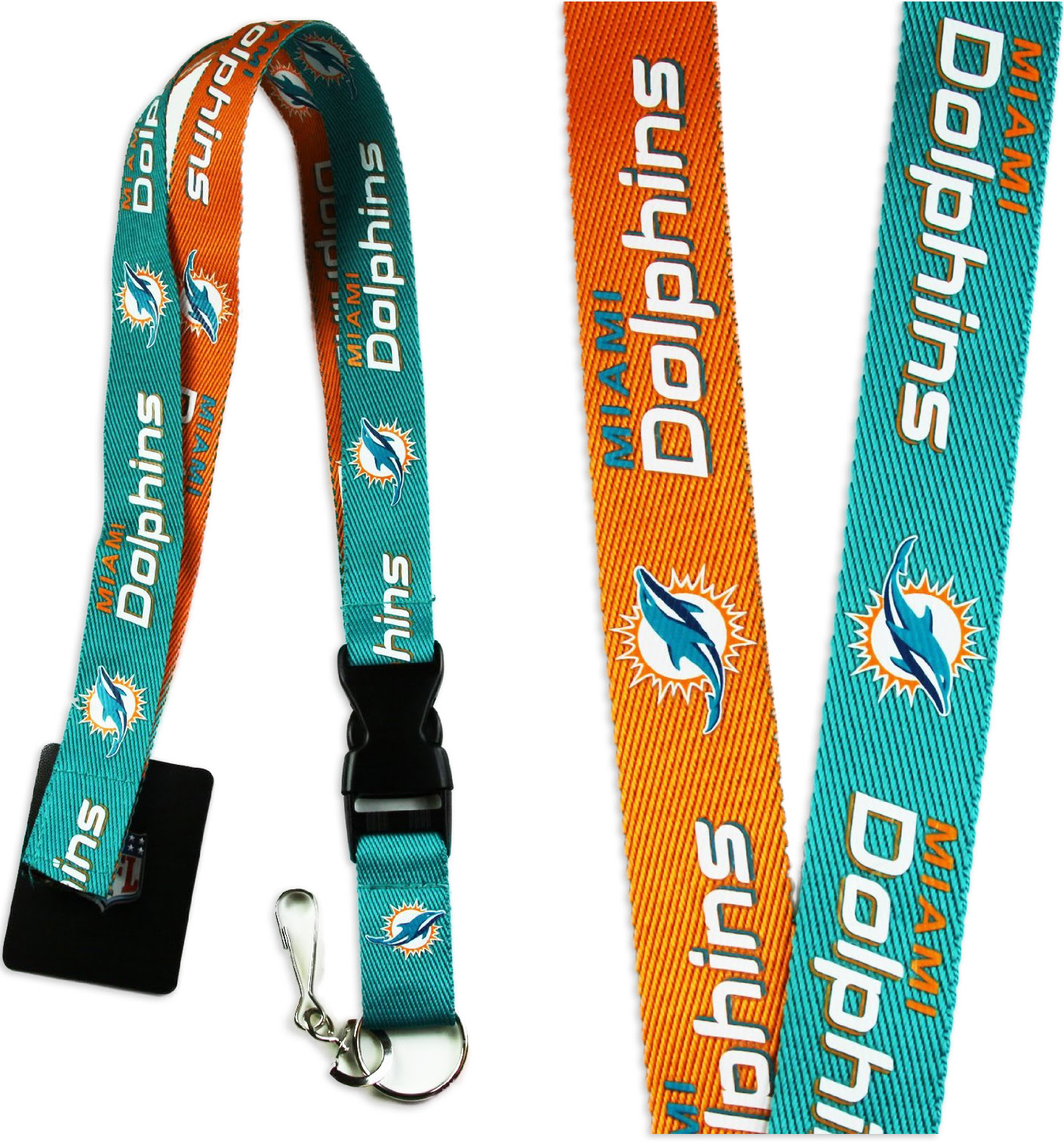 MIAMI DOLPHINS 2TONE NFL TEAM BREAKAWAY LANYARD KEYCHAIN KEY ID HOLDER  eBay