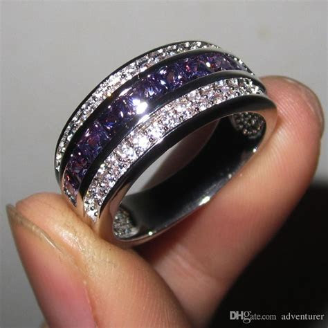 Men'S Purple Amethyst Gemstone CZ 10KT Gold Filled Band