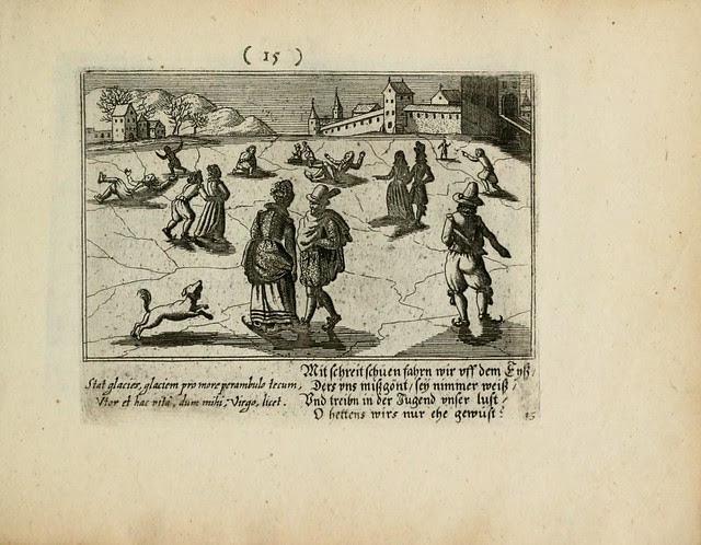 book illustration of 17th cent. outdoor ice-skating scene