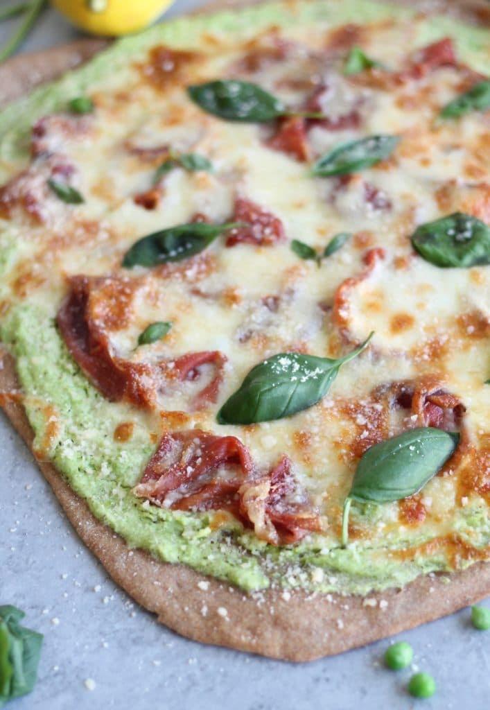 Spring Pizza with Pea Lemon Ricotta and Prosciutto=