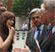 Janis Sharp mother of Gary McKinnon talks to Chris Huhne, Michael Meacher and David Davis who met with Alan Johnson