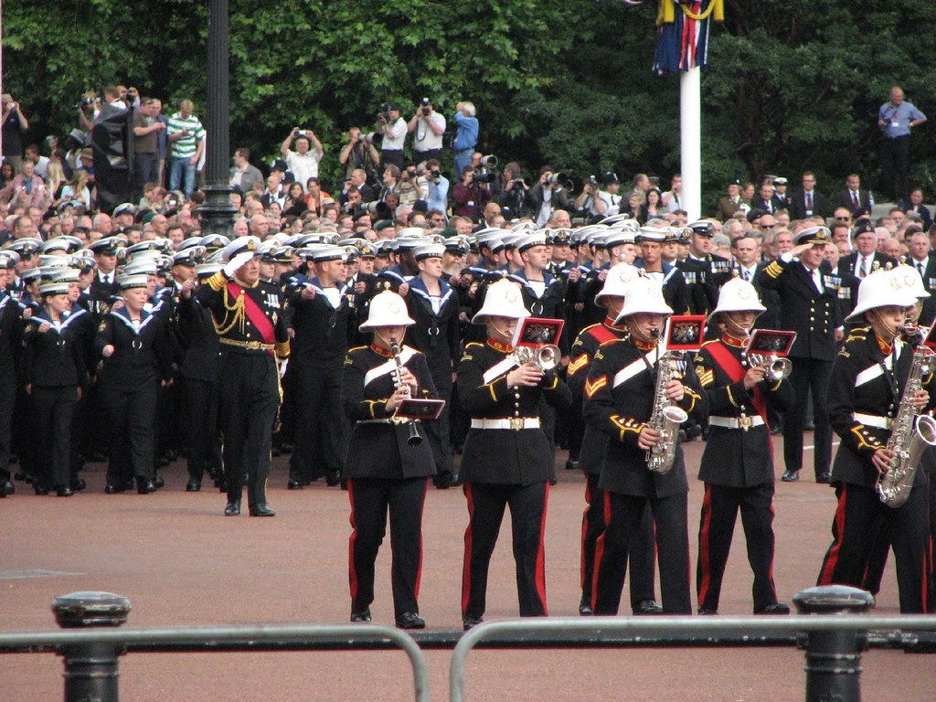 The Royal Navy on parade past the Queen Victoria Memorial