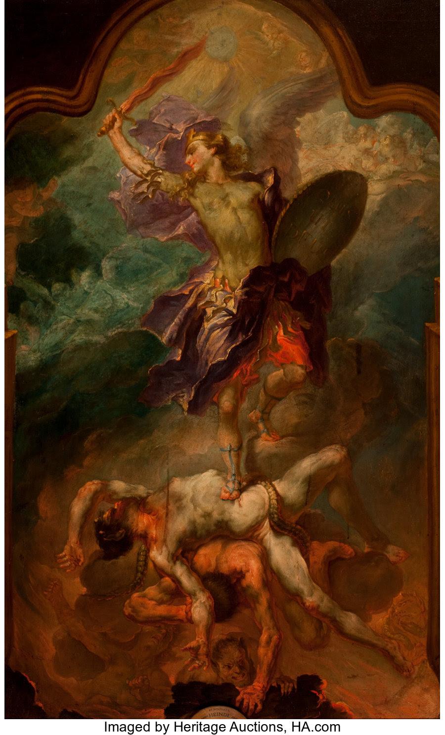 Fine Art - Painting, European, Circle of WOLFGANG ANDREAS HEINDL (Austrian, 1693-1757). SaintMichael. Oil on canvas. 51 x 32 inches (129.5 x 81.3 cm)... Image #1
