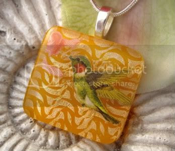 Hummingbird Garden Glass Pendant by CCValenzo
