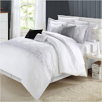 Chic Home Grace 8 Piece Comforter Set, King, White