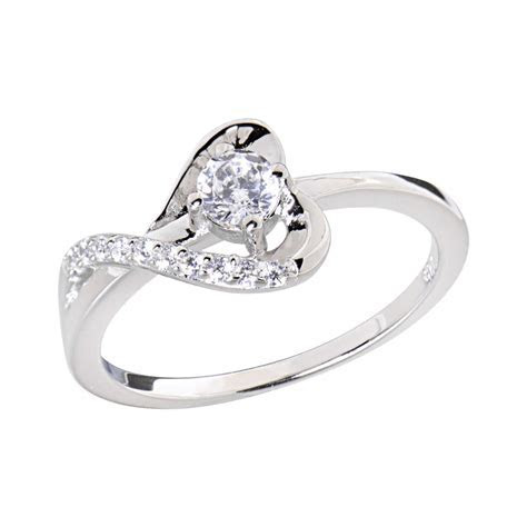 Sterling Silver Round Cubic Zirconia Heart Women Jewelry