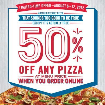 Dominos Pizza Coupon half off