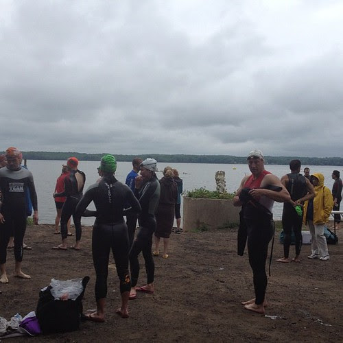 Dreary and overcast before our swim