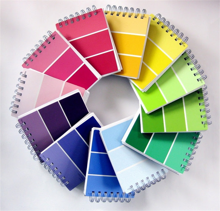 Choose Your Color Paint Sample Notebook. $8.00, via Etsy. You could also do this yourself. Get your paint chip and paper and Office Max will make it into a spiral including the back cover (I've done this with calanders).