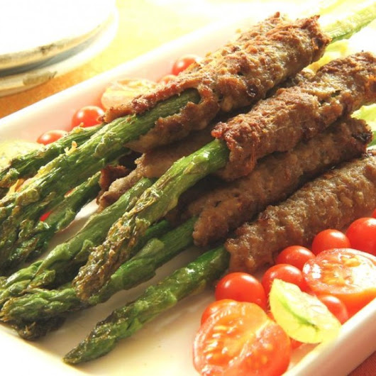 Curried Lamb Kebabs on Asparagus Spears