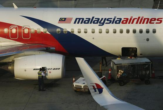 A member of ground crew works on a Malaysia Airlines Boeing 737-800 airplane on the runway at Kuala Lumpur International Airport in Sepang July 25, 2014. REUTERS-Olivia Harris