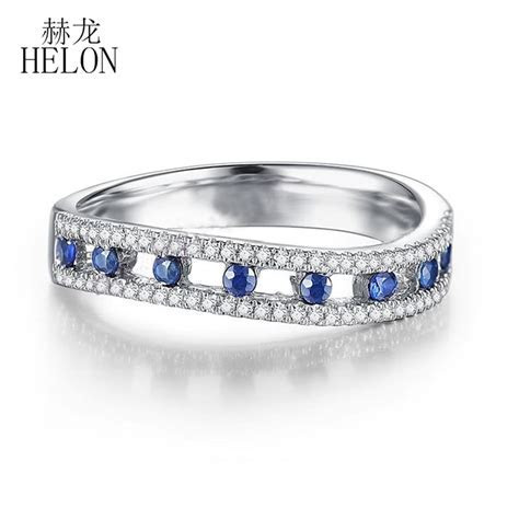 HELON Solid 10K (417) White Gold Tension Pave Setting 0