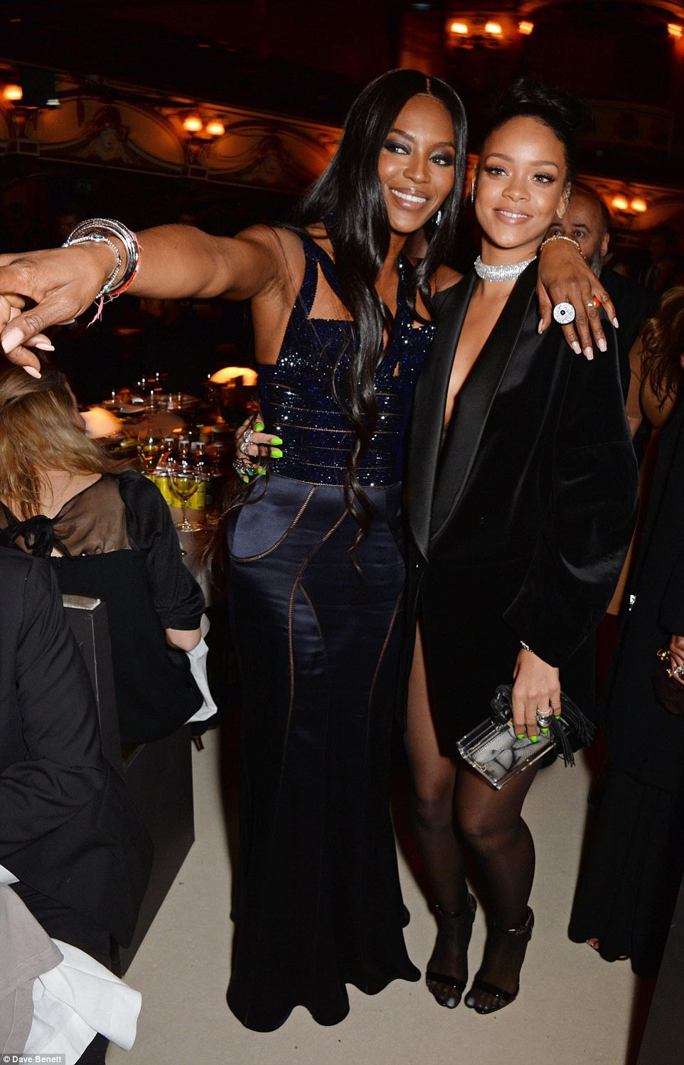 Showing her the way: Naomi pointed something out to Rihanna who was doing well to talk in her heels for so long