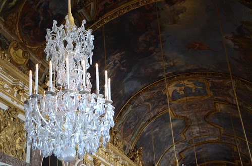 Chandelier and ceiling, Hall of Mirrors, Versailles
