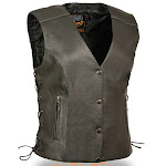 Milwaukee Side Lace Snap Up Womens Reflective Leather Motorcycle Vest