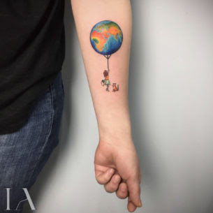 Small Tattoo Earth Balloon Best Tattoo Ideas Gallery