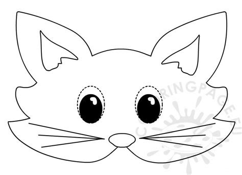 cat mask printable animal masks  colour coloring page