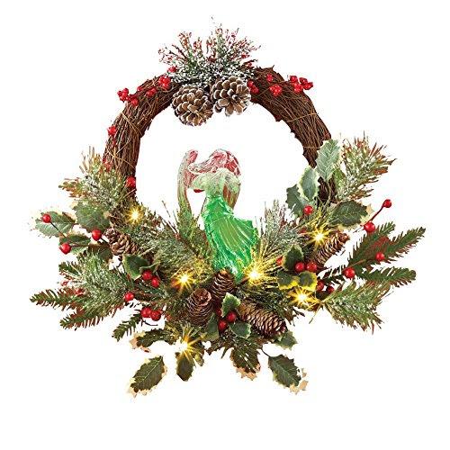 Lighted Angel Holiday Evergreen Wreath
