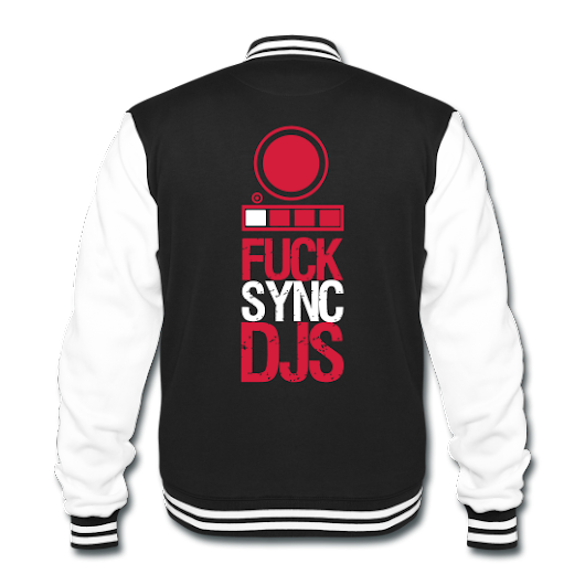'Fuck Sync DJs' - Original Brand Design on shirts, hoodies and jackets only on Save The DJ