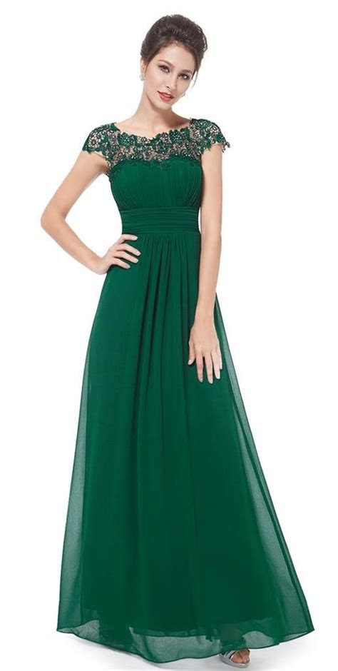 Details about KATIE Emerald Green Lace Bridesmaid Evening