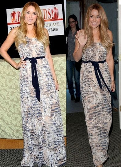 Lauren Conrad wearing Heartloom black and white maxi dress