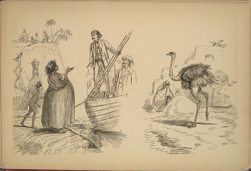 On the Nile - Under the Awning - beggar, ostrich etc
