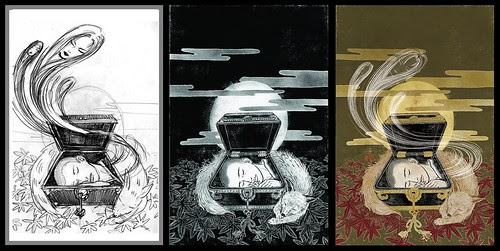 Sandman (sketch, drawing and final) - Yuko Shimizu