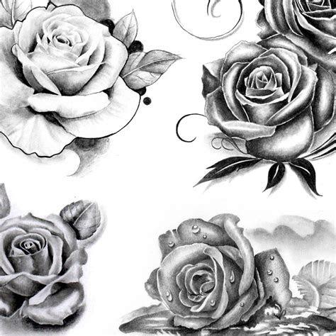 realistic roses tattoo designs black grey
