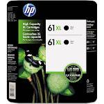 HP 61XL High Yield Original Ink Cartridge, Black, 2 Pack, 480 Page Yield