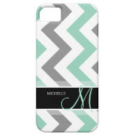 Personalized Cool Mint and Gray Chevron iPhone 5 Cases