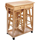 Winsome Wood Space-Saver Drop Leaf Table with 2 Round Stools, Beige