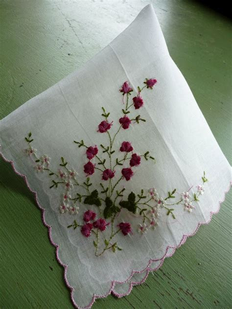 Vintage White Embroidered Handkerchief, Treasure Masters