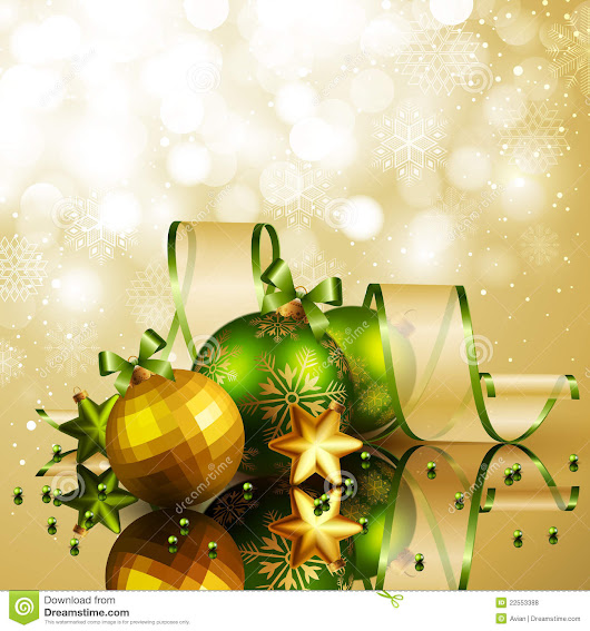 Christmas background with green and golden balls