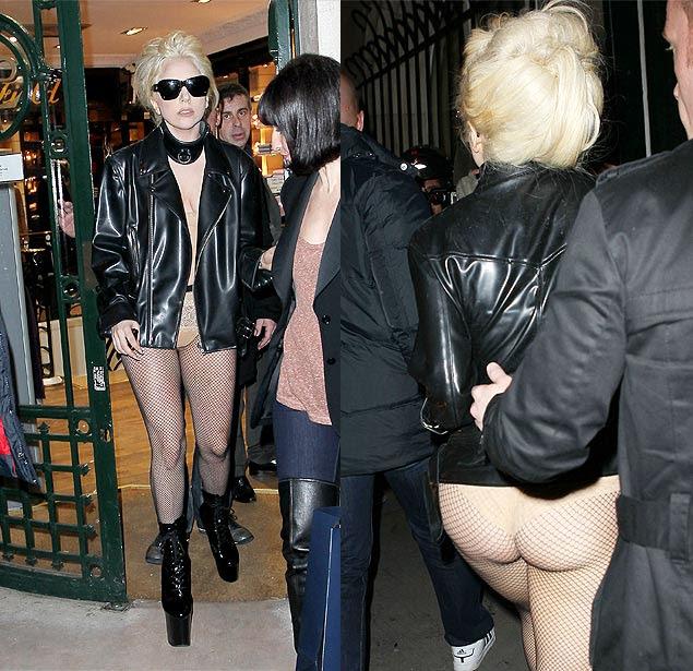 Lady Gaga passeia por Paris de meia arrastão e jaqueta de couro em frio de 7° negativos