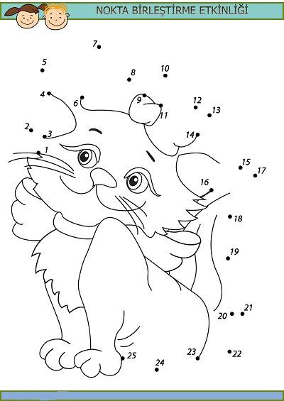 Sevimli Kedi Nokta Birleştirme Etkinliği Meb Ders