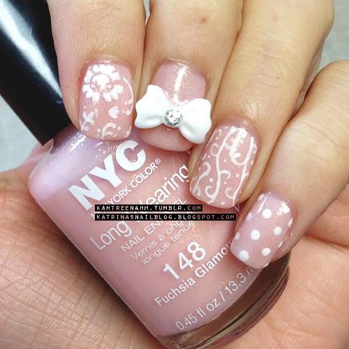 Nyc Metallic Nail Polish: Katrina's Nail Blog: Not So Fuchsia + BPS Bow Mani;