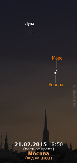 Растущая Луна, Венера и Марс на вечернем небе Москвы 21 февраля 2015 г.