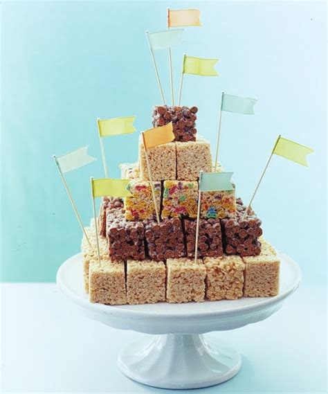 Picture Of a wedding cake composed of various pieces of