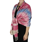 Rainbow Silky Tropical Pashmina Wrap Shawl Scarf | Peach Couture Pansy Pink Cream