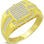 925 Sterling Silver Men's Yellow Gold-tone Micro Pave White CZ Stone Signet Style Ring with Band Detail