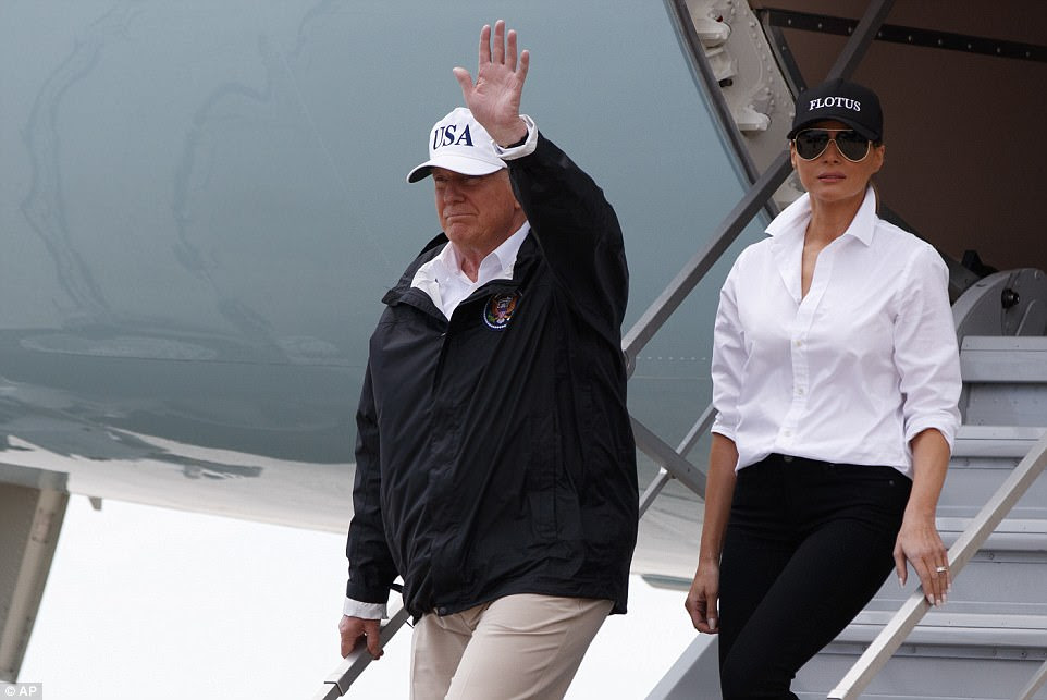 President Trump and First Lady Melania Trump arrive in Texas on Tuesday as the city continues to struggle under the floods