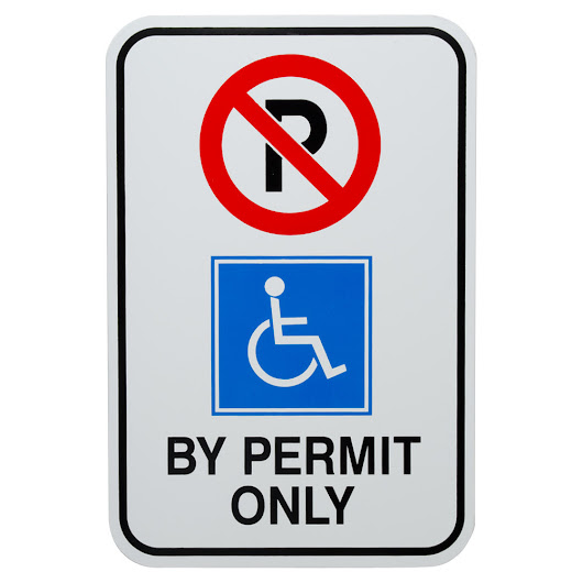 """Handicapped Parking By Permit Only"" Aluminum Composite Sign - 12"" x 18"""
