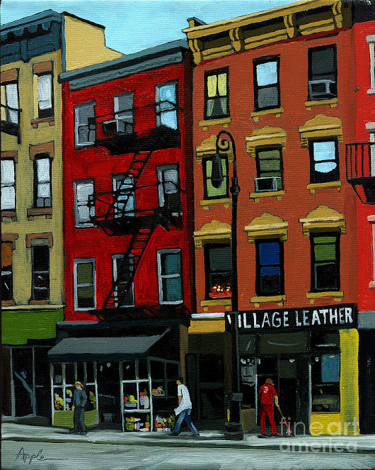 Village Leather - New York Cityscape by Linda Apple