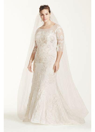 Oleg Cassini 3/4 Sleeve Lace Trumpet Wedding Dress   David